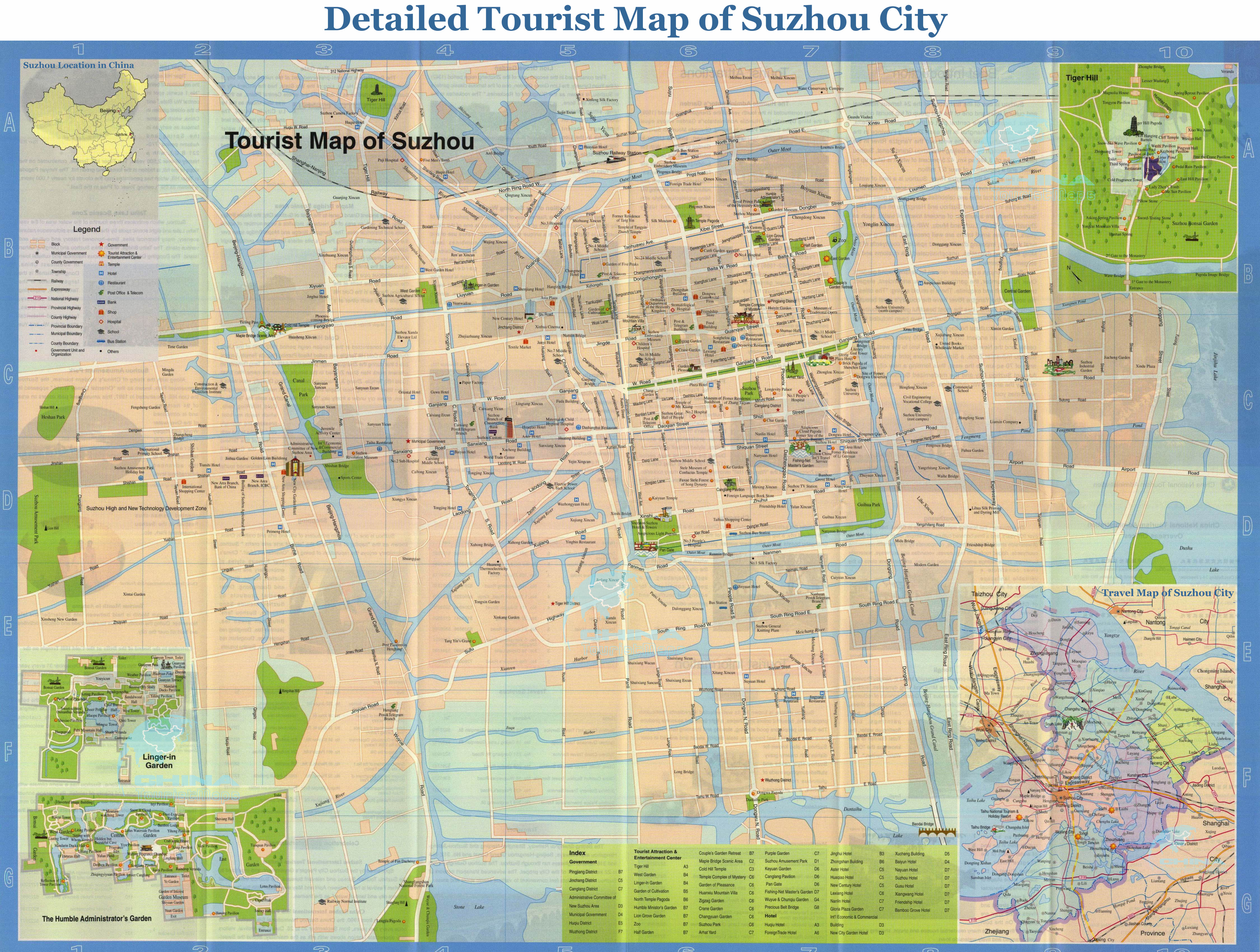 Detailed Tourist Map of Suzhou City