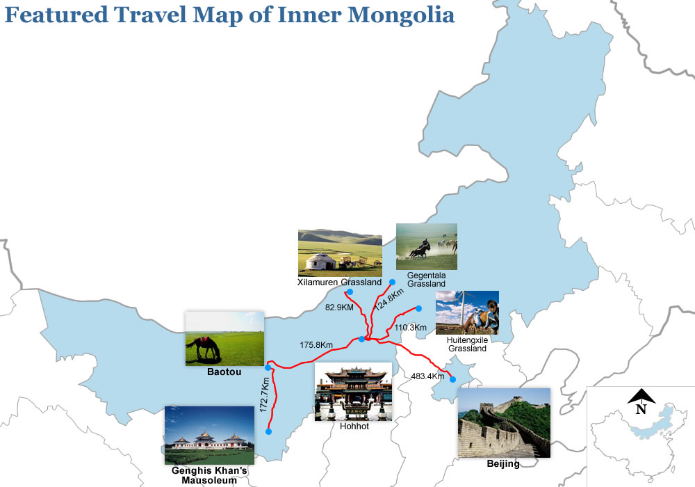 Featured Travel Map of Inner Mongolia