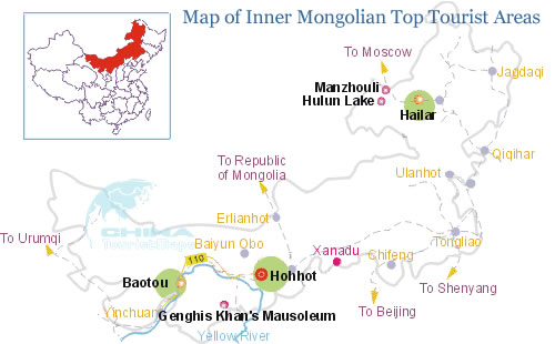 Map of Inner Mongolian Top Tourist Areas