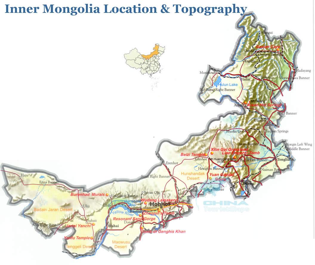 Topographic Map of Inner Mongolia